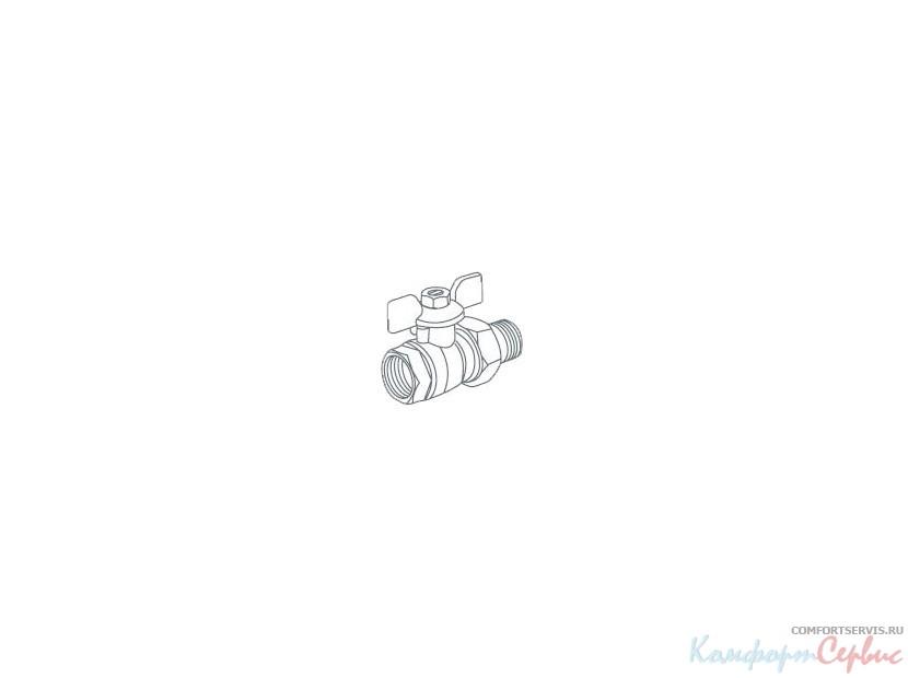 Кран шаровый Royal Thermo EXPERT 1/2 нар-вн, НГ, ручка-бабочка